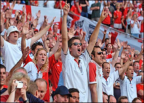 England fans cheer, as the piranhas get to work