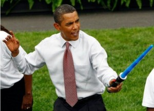 Obama: unimpressed with 'reach' of lightsaber