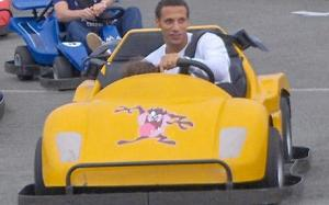 "Rio Ferdinand and son ""race chavs"" at Presthaven Sands on the go-karts"