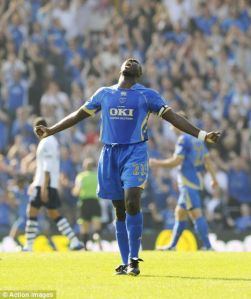 Sol Campbell, bursting into song during his Portsmouth days